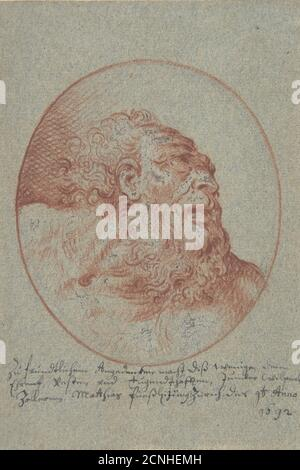 Cabeza de un hombre portador mirando hacia la derecha, 1692.