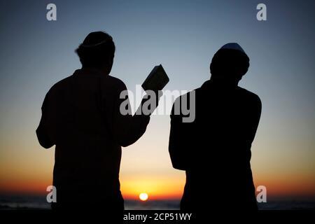 Los judíos ortodoxos participan en la oración de Tashlich, un ritual de Rosh Hashanah, a orillas del Mar Mediterráneo, en la ciudad sureña de Ashdod el 17 de septiembre de 2012. Durante la oración, las migas de pan son arrojadas a las aguas para desechar simbólicamente los pecados. REUTERS/Amir Cohen (ISRAEL - Tags: RELIGIÓN TPX IMÁGENES DEL DÍA)