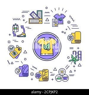 Banner web textil eco. Ropa reciclable orgánica. Infografías con iconos lineales sobre fondo blanco. Concepto de idea creativa. Color de contorno aislado