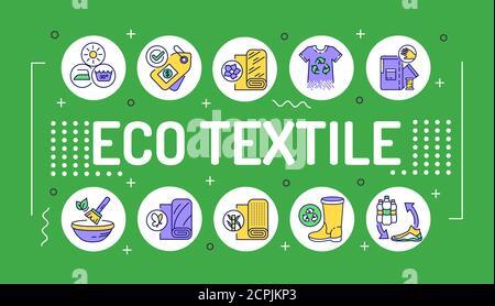 Tipografía de letras de palabras textiles ecológicas. Ropa reciclable orgánica. Infografías con iconos lineales sobre fondo verde. Concepto de idea creativa