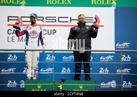 Le Mans, Francia. 19 de septiembre de 2020. Larry Ten Voorde, Porsche 911 GT3 Cup, podio durante la Copa Porsche Carrera 2020 en el circuito des 24 Heures du Mans, del 18 al 19 de septiembre de 2020 en le Mans, Francia - Foto Xavi Bonilla / DPPI crédito: LM/DPPI/Xavi Bonilla/Alamy Live News crédito: Gruppo Editoriale LiveMedia/Alamy Live News