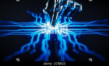 Concepto de digitalización: Brazo robot futurista interactuando con pantalla, los dedos se muestran y activa la Inteligencia Artificial. Visualización de