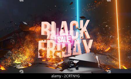 Oferta de viernes negro, descuento. ilustración de renderizado en 3d. Si tienes alguna pregunta no dudes en escribirme