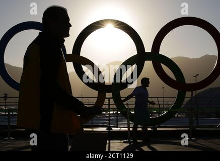 Rio Olympics -  Rio de Janeiro, Brazil - 13/08/2016.  People pose for photos by the rings in the Olympic Park.    REUTERS/Kevin Coombs