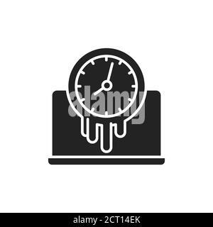 Icono de glifo negro de tiempo de pérdida. Tiempo pasado cerca del concepto de computadora. Firme para la página web, la aplicación móvil, el botón, el logotipo. Elemento aislado vectorial.