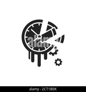 Icono de glifo negro de tiempo de pérdida. Concepto de dilación y pereza. Firme para la página web, la aplicación móvil, el botón, el logotipo. Elemento aislado vectorial