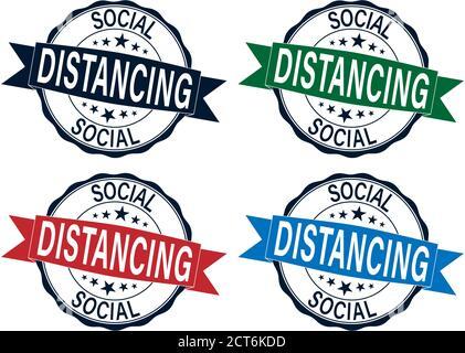 Social distanciamiento color goma sello vector establecido aislado para social concepto de distanciamiento