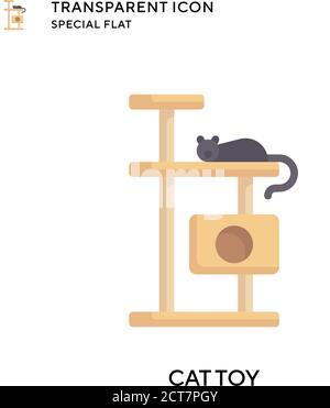Icono de vector de juguete de gato. Ilustración de estilo plano. EPS 10 vector.