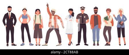 Diferentes trabajo o hobby personas vector ilustración conjunto. Colección de dibujos animados planos con hombre mujer trabajadora grupo de personajes en uniforme, hombre de negocios policía médico entrenador de fitness aislado en blanco
