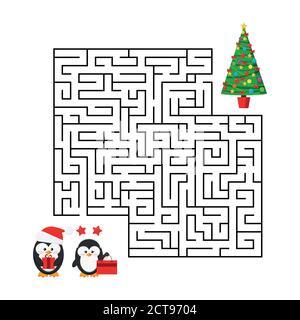 Juego de laberinto de Navidad - laberinto con lindo chico y chica pareja con regalos de Navidad para la educación de los niños.