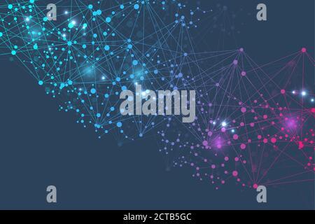 Estructura molecular y de la comunicación. El ADN, el átomo, las neuronas. Concepto científico para su diseño. Líneas conectadas con puntos. Tecnología médica