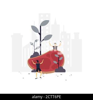 Carne amante ilustración plana.Diseño vectorial.adecuado para página de inicio, ui, sitio web, aplicación móvil, editorial, póster, volante, artículo y banner. Foto de stock