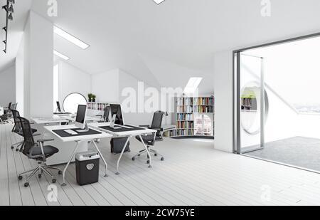 Moderno interior de oficina en el ático. concepto de diseño de renderizado en 3d