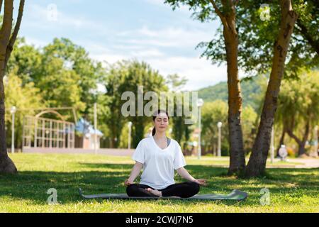 Yoga. Una mujer joven con ropa deportiva medita con los ojos cerrados en un Mat en un parque en la hierba. El concepto de un estilo de vida saludable