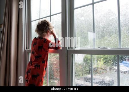 Vista trasera de joven con pelo rizado mirando hacia fuera Ventana cubierta de lluvia