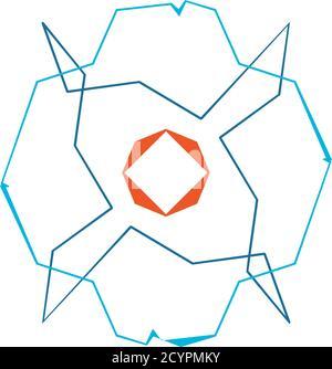 Forma de geometría aleatoria abstracta. Arte generativo geométrico zig-zag, entrecruzado angular, ilustración edgy. Extraño, extraño elemento de diseño colorido