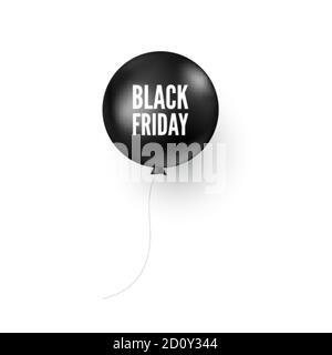 Globo negro con texto de viernes negro. Elemento de diseño de banner o póster de descuento. Ilustración vectorial