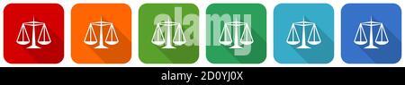 Conjunto de iconos de justicia, ilustración vectorial de diseño plano en 6 opciones de colores para diseño web y aplicaciones móviles