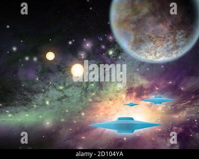 Platillos volantes en el espacio