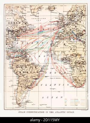 Un mapa de finales del siglo XIX del borde Atlántico, que ilustra las rutas marítimas desde las Islas Británicas al resto del mundo. Nota los nombres de algunas ubicaciones ya no están en uso.