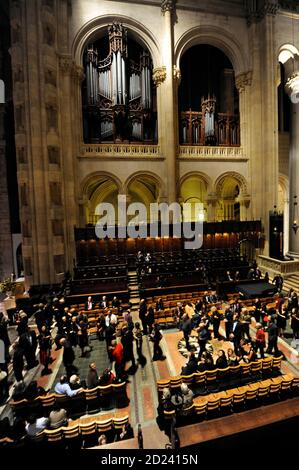 Part of the newly restored Great Organ, built in 1911 with over 8,000 pipes and 141 ranks, is pictured high in the choir area of the Cathedral Church of St. John the Divine in New York, December 3, 2008. The church was open for an 'End-to-End' party celebrating the completion of a seven-year restoration project after the organ and interior had been damaged by a December 2001 fire.  REUTERS/Ray Stubblebine  (UNITED STATES)
