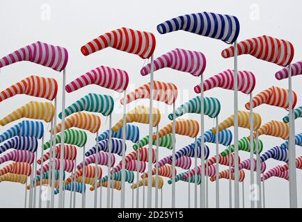 A creation made with wind cones and designed by French conceptual artist Daniel Buren is seen as a part of Beaufort 03 Contemporary Art by the Sea exhibition in De Haan April 21, 2009. REUTERS/Thierry Roge   (BELGIUM ENTERTAINMENT SOCIETY)