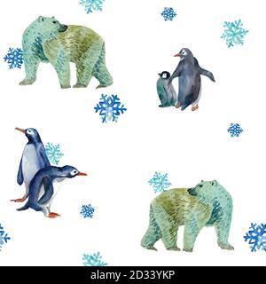 Acuarela sin costuras con osos polares blancos y pingüinos. Animales de invierno con copos de nieve. Colores fríos. Diseño para la decoración de año Nuevo, cubiertas,