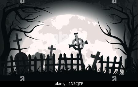 Antiguo cementerio de miedo con lápidas y cruces. Especial para Halloween. EPS 10
