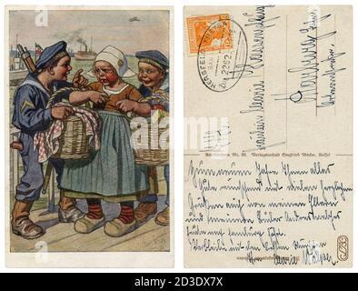 Postal histórica alemana: Niños como adultos: Los marineros de la Armada Imperial Alemana roban a una niña más sutler con canastas de comida, la guerra mundial, 1917