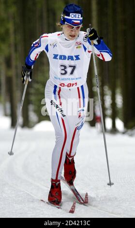 Katerina Neumannova of the Czech Republic skis in a World Cup women's cross country 10km classic style individual race in Nove Mesto na Morave, Czech Republic January 17, 2004. Neumannova came third in a time of 31minutes 30.5seconds. REUTERS/David W Cerny  DWC Foto de stock