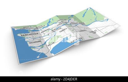 Mapa 3d del Gran Vancouver y municipios, BC, Canadá. Vista en perspectiva de un folleto o folleto de 4 pliegues con un mapa moderno de Vancouver.