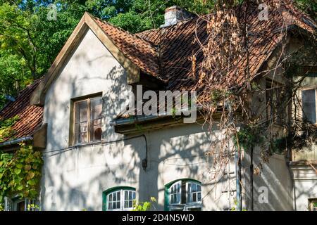 Techo de baldosas de una antigua casa del siglo 19. Ventanas de madera sin restauración en la fachada de una casa de campo en el bosque.