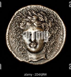 Rara Moneda griega antigua, Sicilia, Catana, Tetrandra de plata, Siciliy, Catana, Apolla frente cabeza c 415 - 403 AC