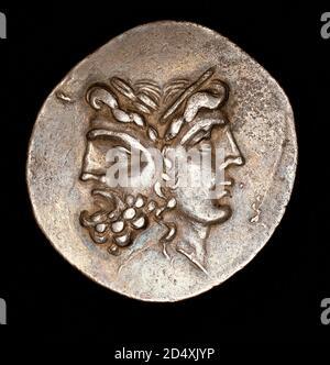 Moneda griega antigua rara, Tetradruchm plata, cabezas coensambladas en las que evolucionaron las cabezas Janeform romanas, c 160BC