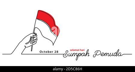 Selamat hari Sumpah pemuda, Feliz día de la promesa de la Juventud Indonesia, banner vector simple, cartel, fondo con bandera y mano. Arte de una sola línea