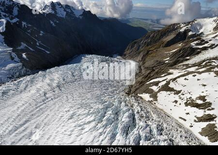 El glaciar Franz Josef, el deshielo de los glaciares debido al cambio climático, Franz Josef, Isla del Sur, Nueva Zelanda