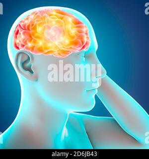 Cuida tu cerebro, estímulos e ideas. Funciones y neuronas. Sinapsis. Enfermedades degenerativas, Parkinson y Alzheimer. renderizar en 3d