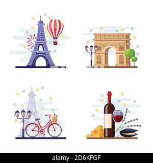 Viajar a París vector plano ilustración. Símbolos de la ciudad, puntos de referencia y comida. Francia iconos y elementos de diseño.