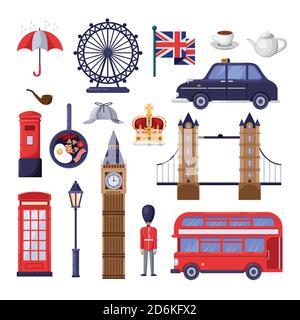 Viajar a Gran Bretaña elementos de diseño. Puntos de referencia turísticos de Inglaterra y Londres, símbolos nacionales e ilustración de la comida. Vector dibujos animados iconos aislados s