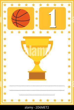 Certificado de baloncesto moderno con lugar para su contenido, para niños primer lugar .