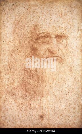 Título: Autorretrato Creador: Leonardo da Vinci Fecha: Circa 1512 Dimensiones: 33,3 x 21,3 cm Medio: Tiza roja sobre papel ubicación: Biblioteca Real de Turín