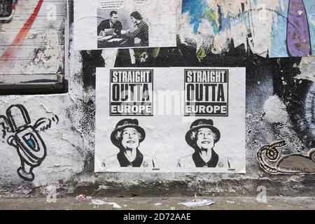 Un cartel electoral falso en un muro en Shoreditch, al este de Londres. Foto fecha: Martes 9 de mayo de 2017. El crédito de la foto debe decir: Matt Crossick/ EMPICS Entertainment.