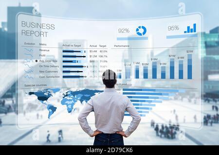 Informe de negocio con métricas, indicadores de rendimiento y gráficos que resumen los datos de ventas y beneficios en comparación con los objetivos y las tendencias del mercado. Exec. De negocios