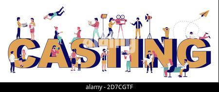 Plantilla de banner vectorial de tipografía de proyección de película. Industria cinematográfica, producción de vídeo, entretenimiento.