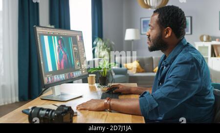 Fotógrafo profesional trabaja en el software de la aplicación de edición fotográfica en su computadora personal. Editor de fotos Retouching Fotos de hermosa Chica. Simulacro