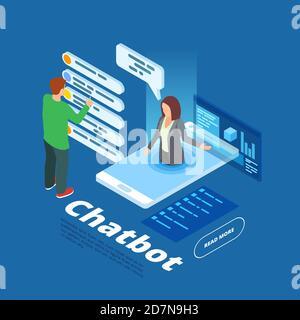 Ilustración vectorial de chatbot. Concepto de asistente en línea isométrico. Bot isométrico en línea, chat móvil apoyo chat