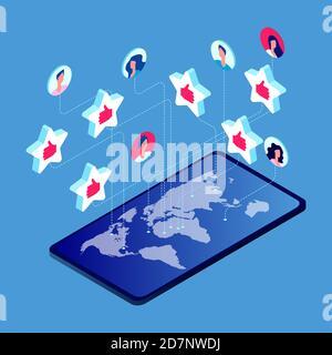 A la gente le gusta el concepto de vector alrededor del mundo. Ilustración de la comunicación en los medios sociales
