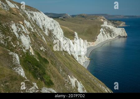 Acantilados de tiza blanca, mirando al este desde White Nothe hacia Swyre Head y Durdle Door, Dorset.