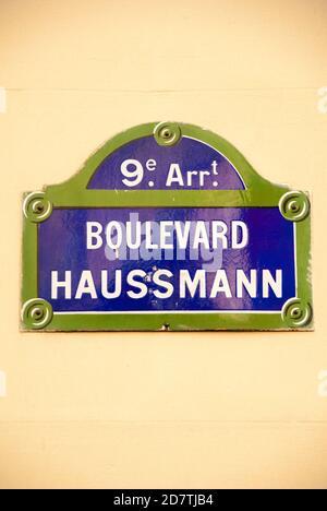 Boulevard Haussmann, señal de calle, 8º/9º distrito, París, Francia