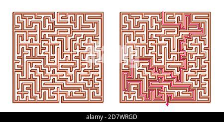Vector 3D / Isométrica Easy Square Maze - Laberinto con solución incluida. Juego de la mente divertida y Educativa para la Coordinación, resolución de problemas, Decisión